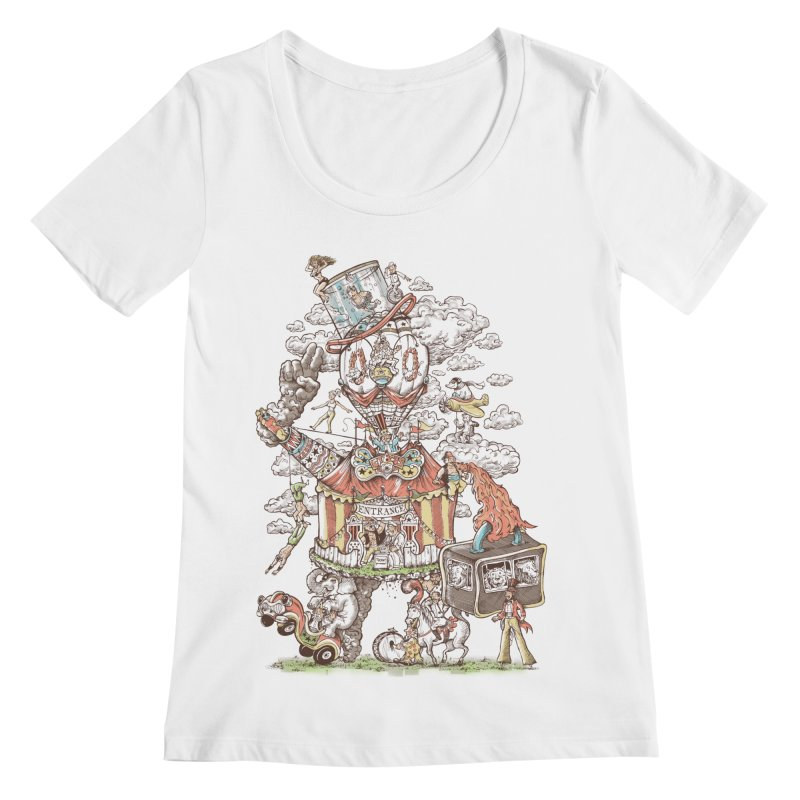 Traveling Circus Women's Regular Scoop Neck by Made With Awesome
