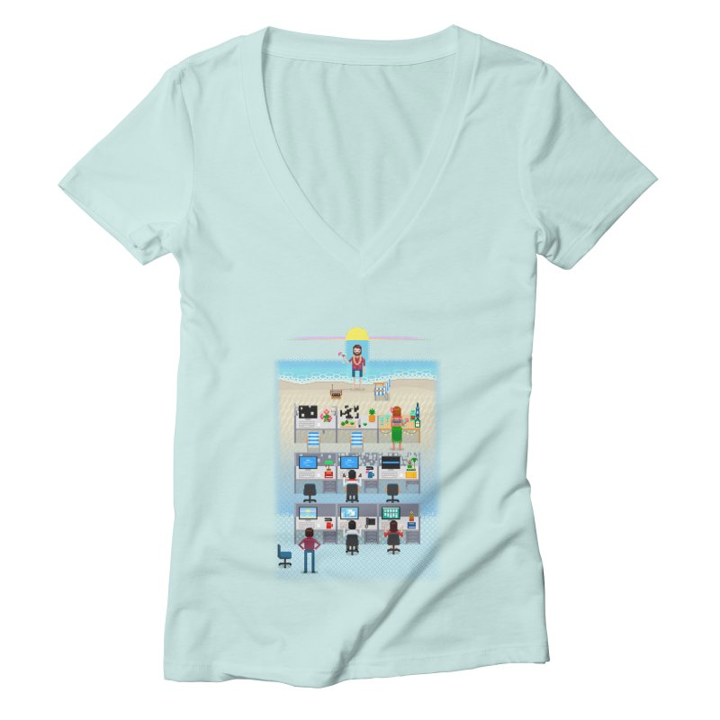 Office Daydream Women's Deep V-Neck V-Neck by Made With Awesome