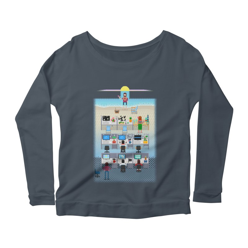 Office Daydream Women's Scoop Neck Longsleeve T-Shirt by Made With Awesome
