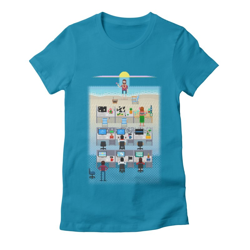 Office Daydream Women's Fitted T-Shirt by Made With Awesome