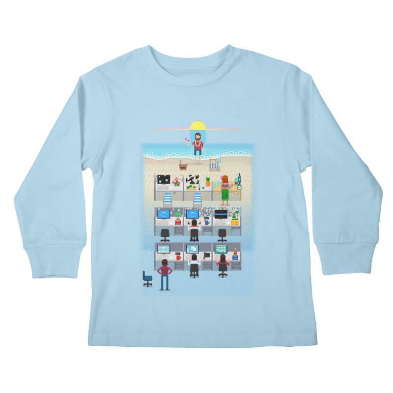 Office Daydream Kids Longsleeve T-Shirt by Made With Awesome