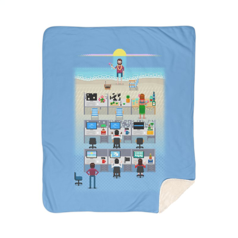 Office Daydream Home Sherpa Blanket Blanket by Made With Awesome