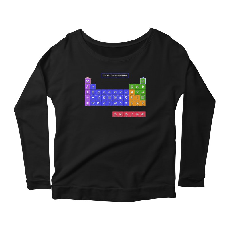 Periodic Table of Powerups Women's Scoop Neck Longsleeve T-Shirt by Made With Awesome