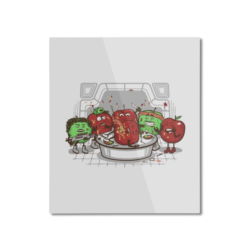 Alien Apple Home Mounted Aluminum Print by Made With Awesome