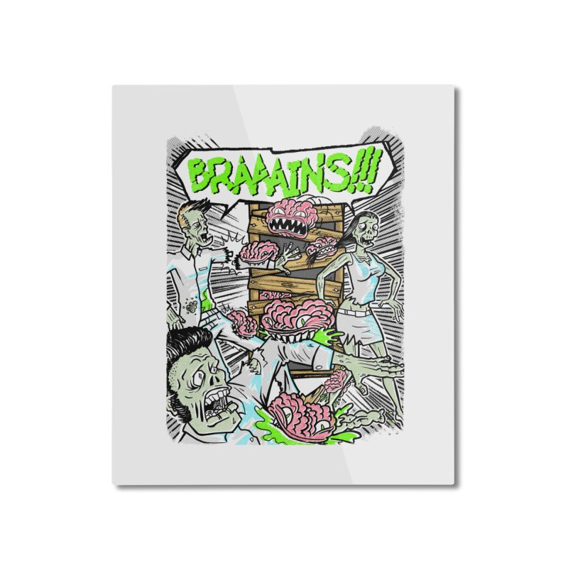 BRAINS! Home Decor Mounted Aluminum Print by Made With Awesome