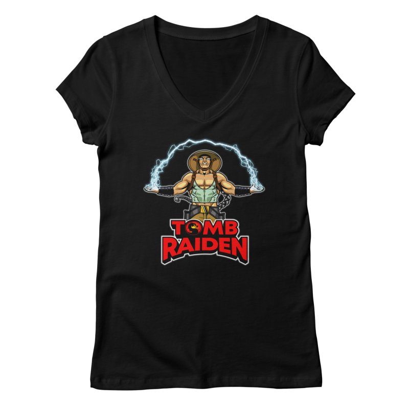 Tomb Raiden Women's V-Neck by Made With Awesome