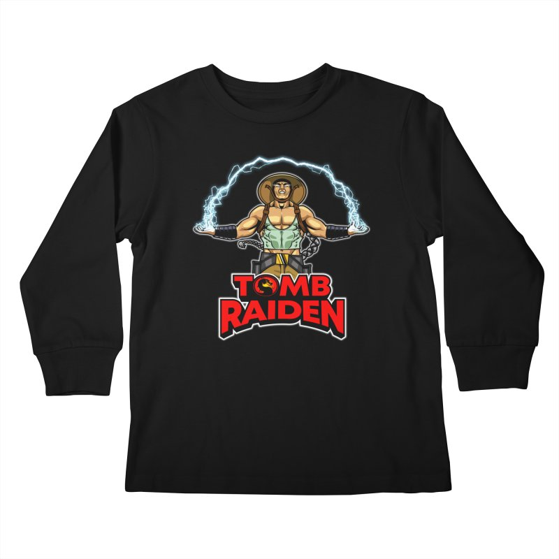 Tomb Raiden Kids Longsleeve T-Shirt by Made With Awesome