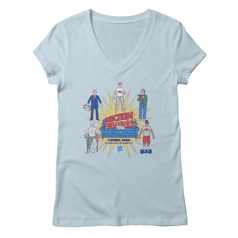 Inaction Figures Women's V-Neck by Made With Awesome