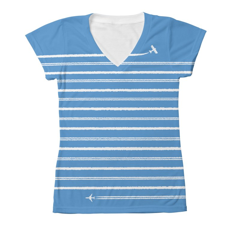 Jet Streams Women's All-Over Print V-Neck by Made With Awesome