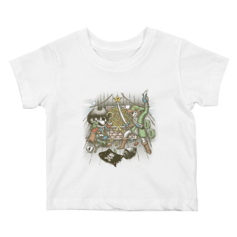 8-Bit Pirates Kids Baby T-Shirt by Made With Awesome