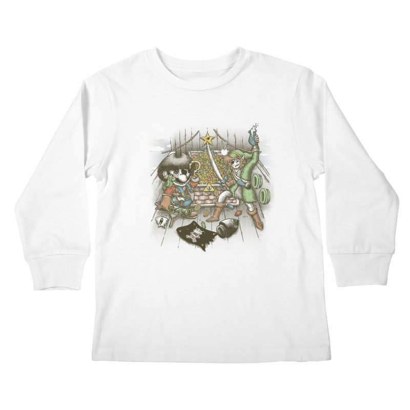 8-Bit Pirates Kids Longsleeve T-Shirt by Made With Awesome