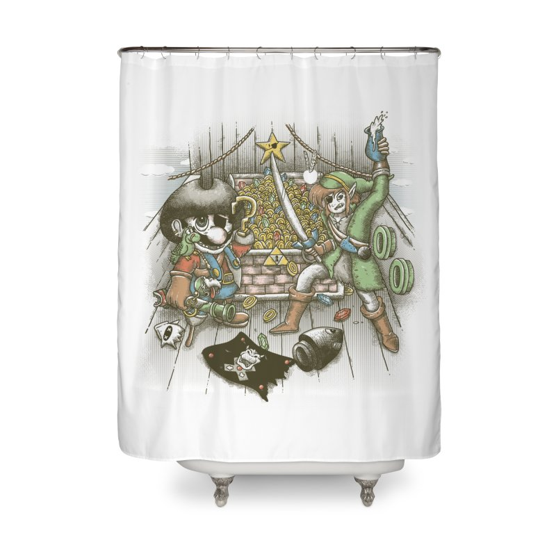 8-Bit Pirates Home Shower Curtain by Made With Awesome