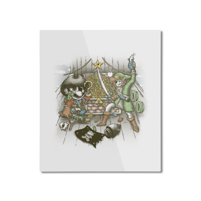 8-Bit Pirates Home Mounted Aluminum Print by Made With Awesome