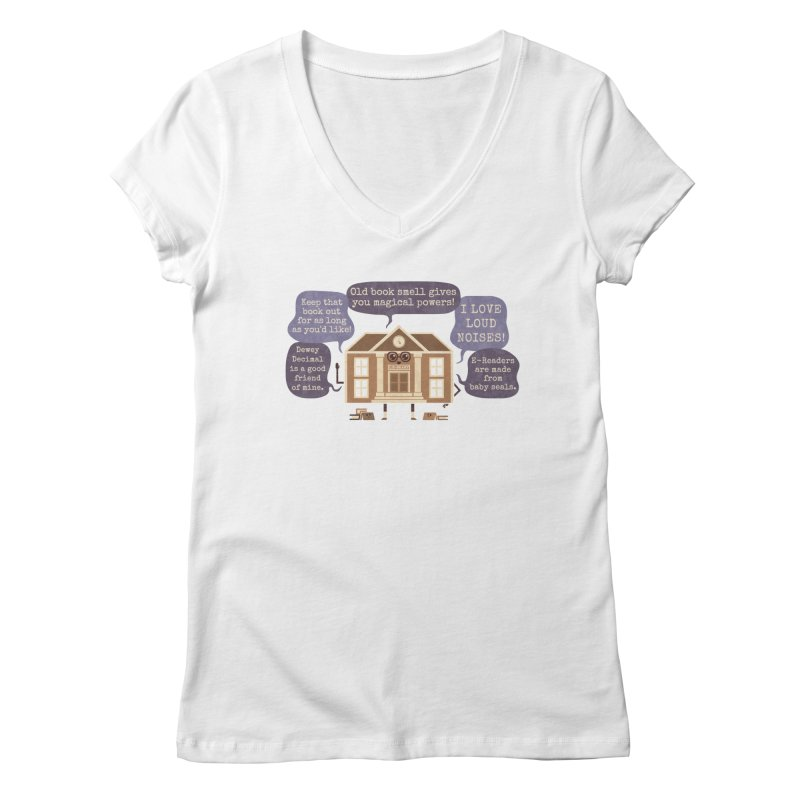 Lie-brary Women's Regular V-Neck by Made With Awesome