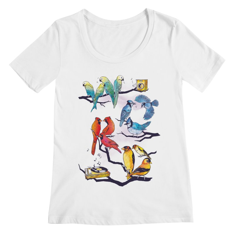 The Bird is The Word Women's Regular Scoop Neck by Made With Awesome