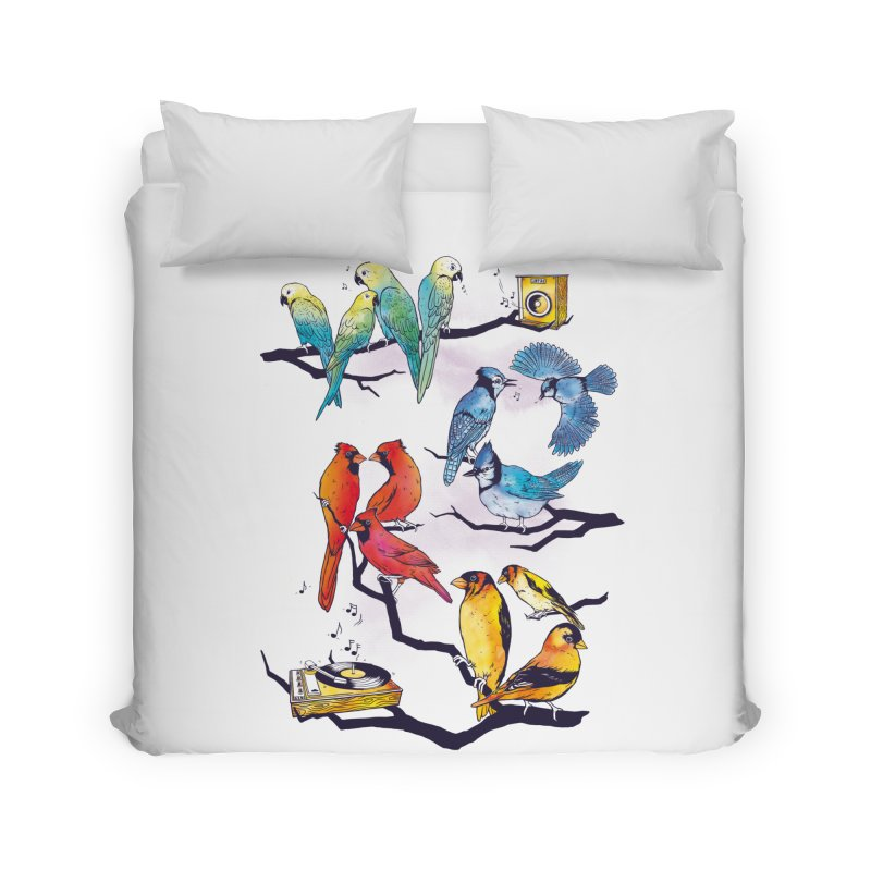 The Bird is The Word Home Duvet by Made With Awesome