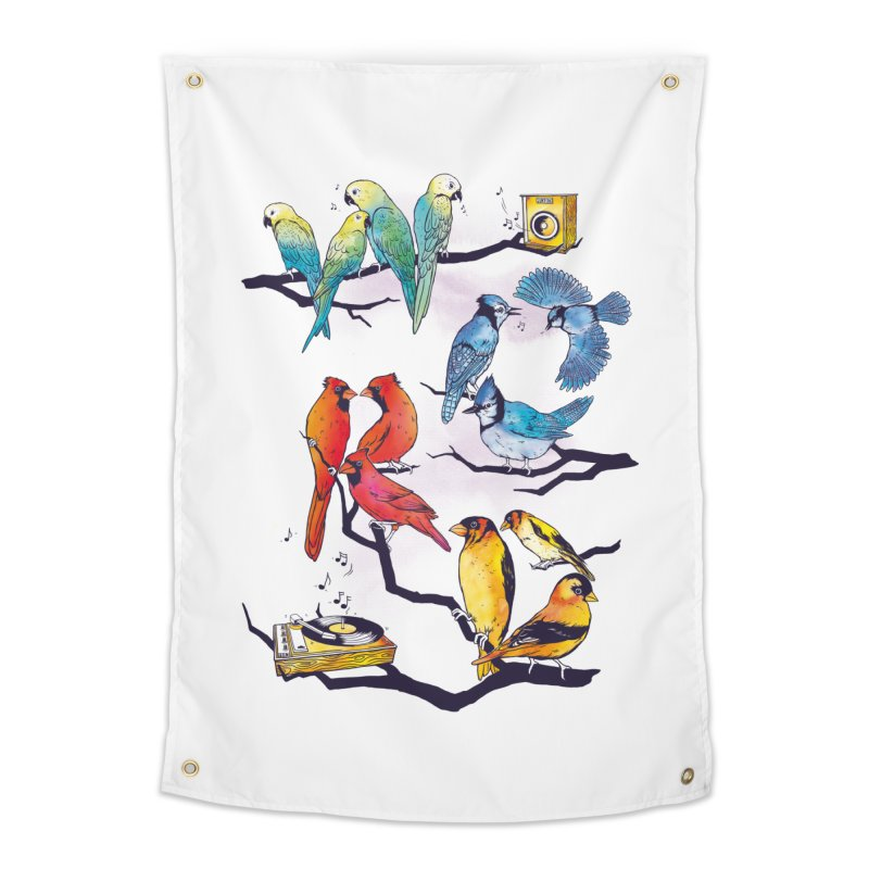 The Bird is The Word Home Tapestry by Made With Awesome
