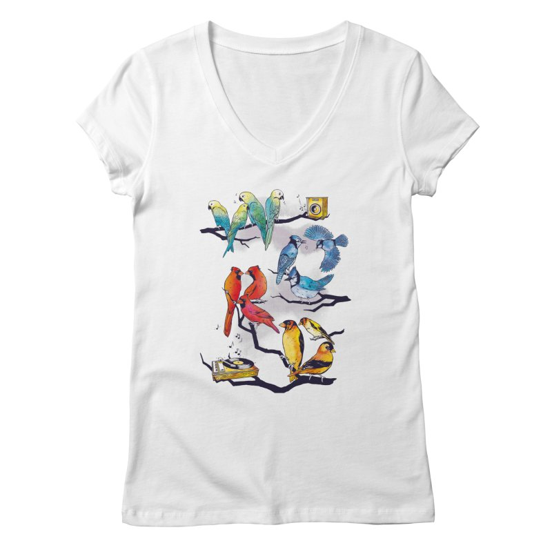 The Bird is The Word Women's Regular V-Neck by Made With Awesome
