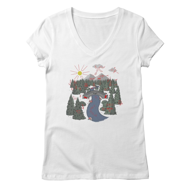 Draw Bridge Women's Regular V-Neck by Made With Awesome