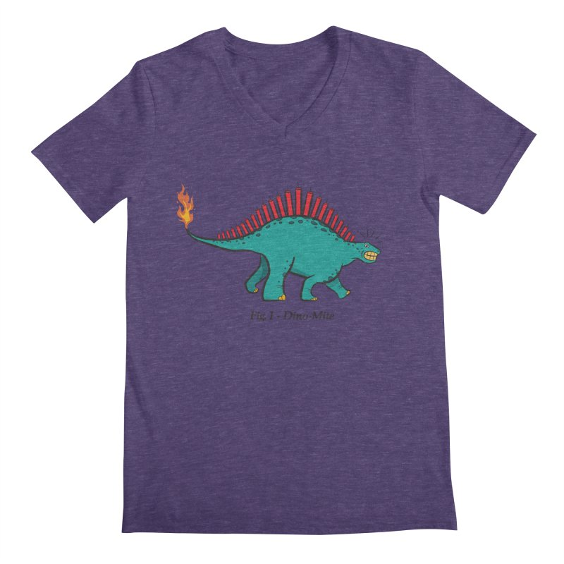 Dino-mite Men's Regular V-Neck by Made With Awesome