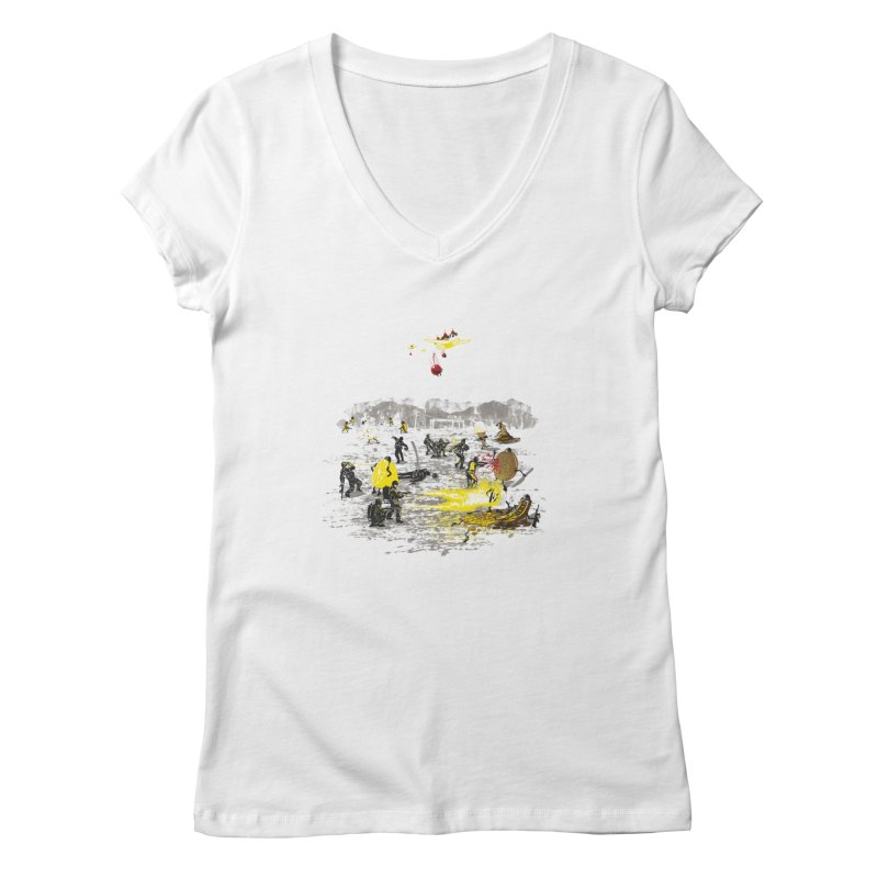 Food Fight Women's V-Neck by Made With Awesome
