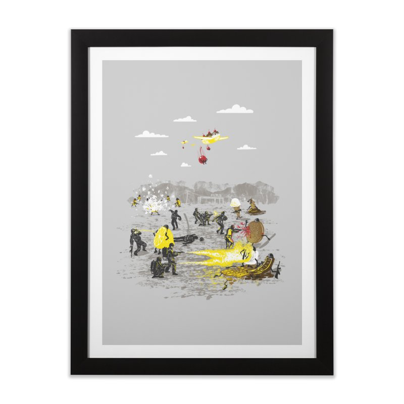 Food Fight Home Framed Fine Art Print by Made With Awesome