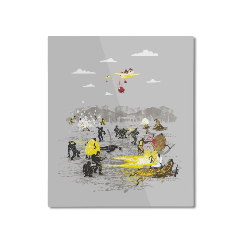 Food Fight Home Mounted Aluminum Print by Made With Awesome