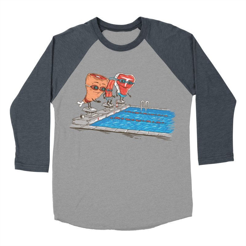 Swim Meat Men's Baseball Triblend Longsleeve T-Shirt by Made With Awesome