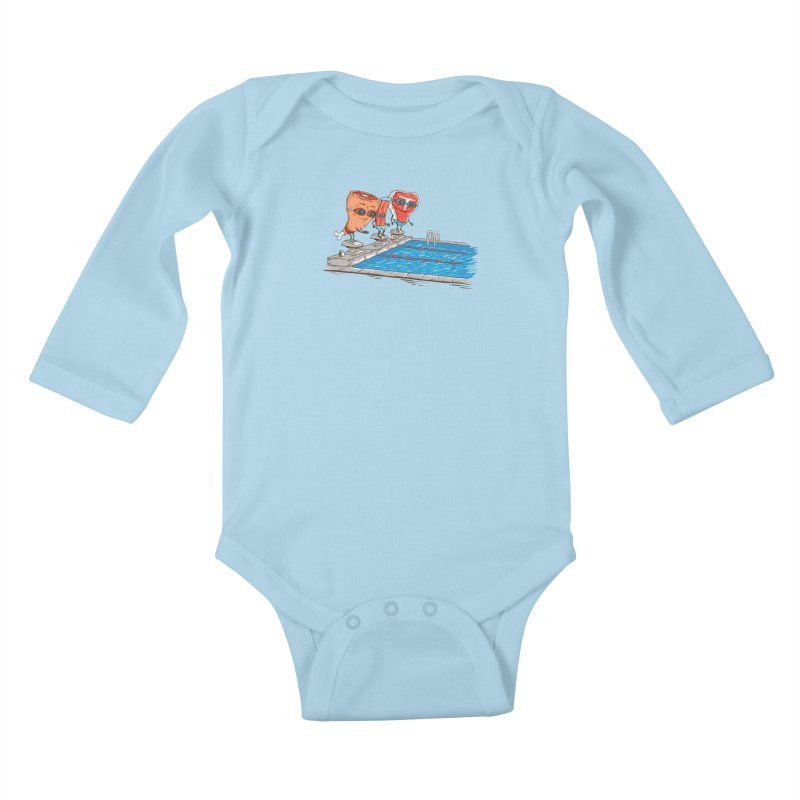 Swim Meat Kids Baby Longsleeve Bodysuit by Made With Awesome