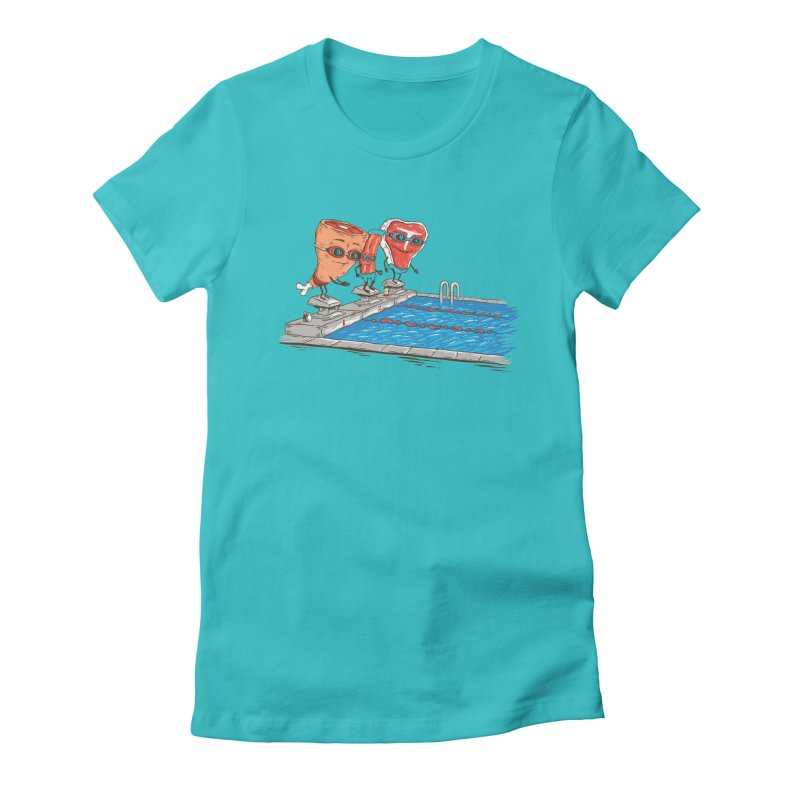 Swim Meat Women's Fitted T-Shirt by Made With Awesome