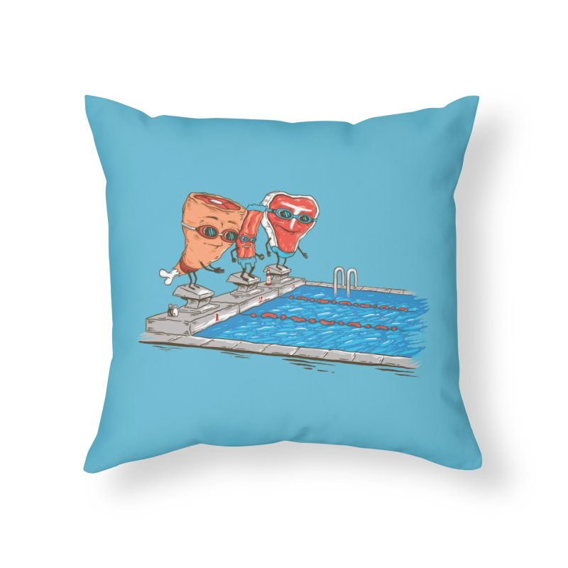 Swim Meat Home Throw Pillow by Made With Awesome