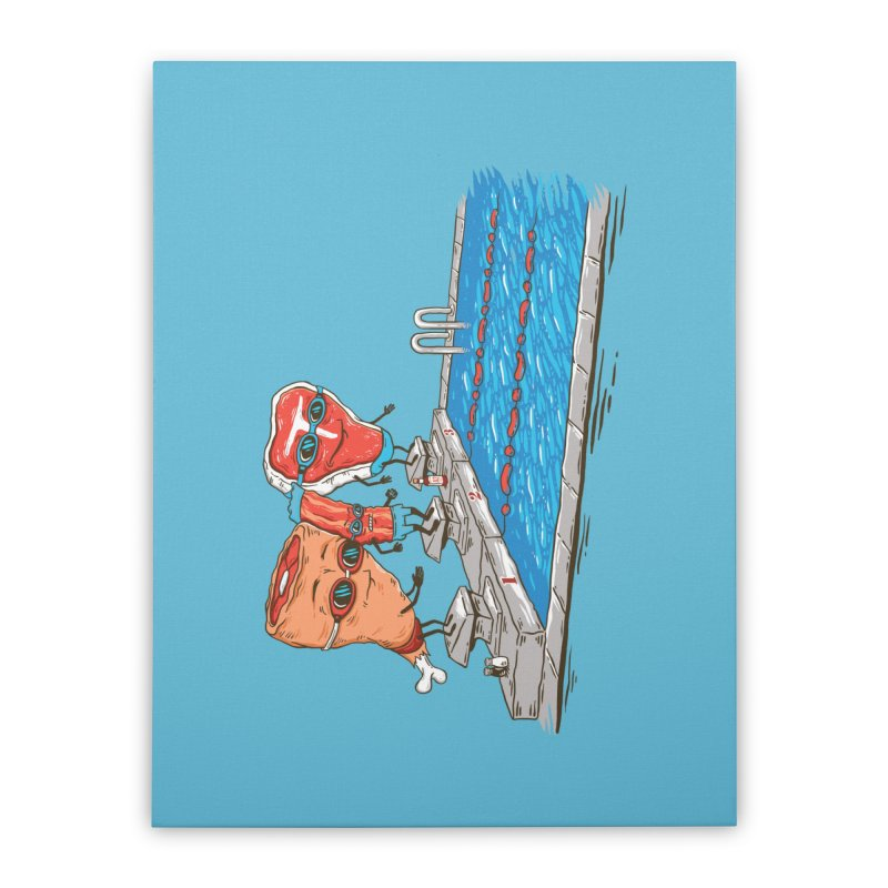 Swim Meat Home Stretched Canvas by Made With Awesome