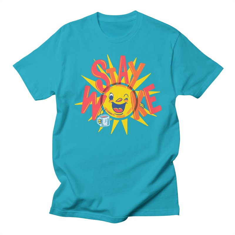 Stay Woke in Men's Regular T-Shirt Cyan by Made With Awesome