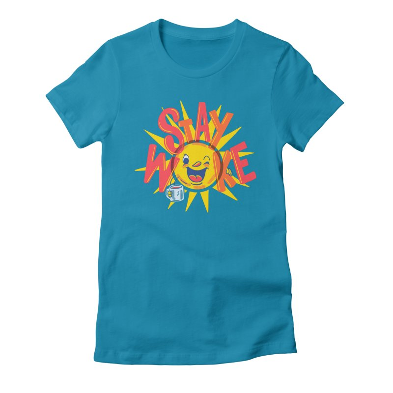 Stay Woke Women's Fitted T-Shirt by Made With Awesome