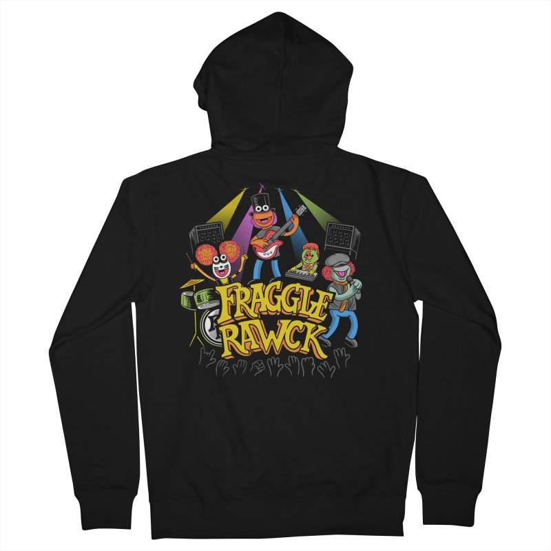 Fraggle RAWK in Men's French Terry Zip-Up Hoody Black by Made With Awesome