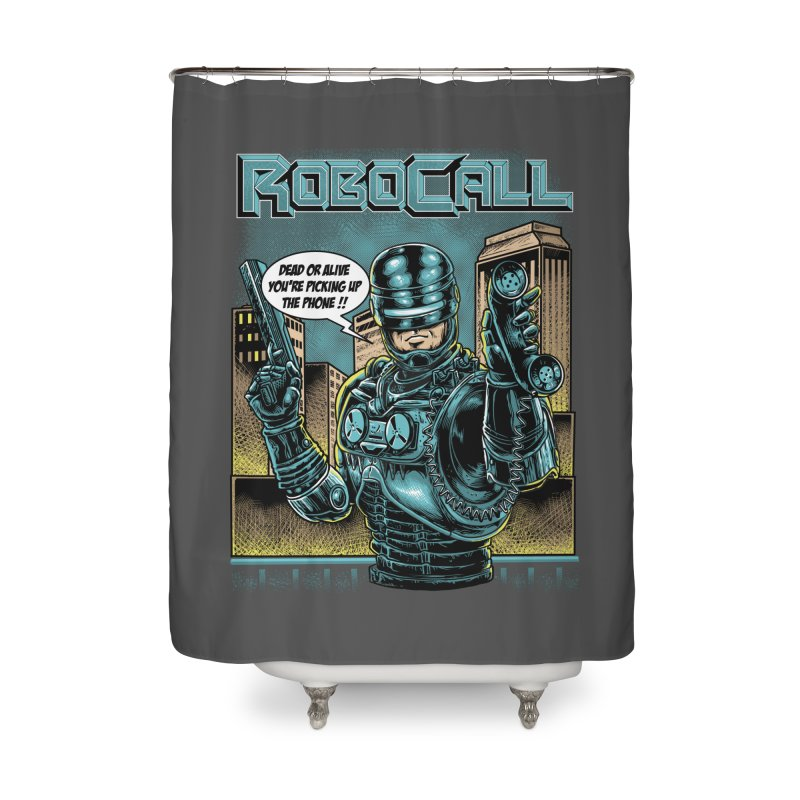 Robocall Home Shower Curtain by Made With Awesome