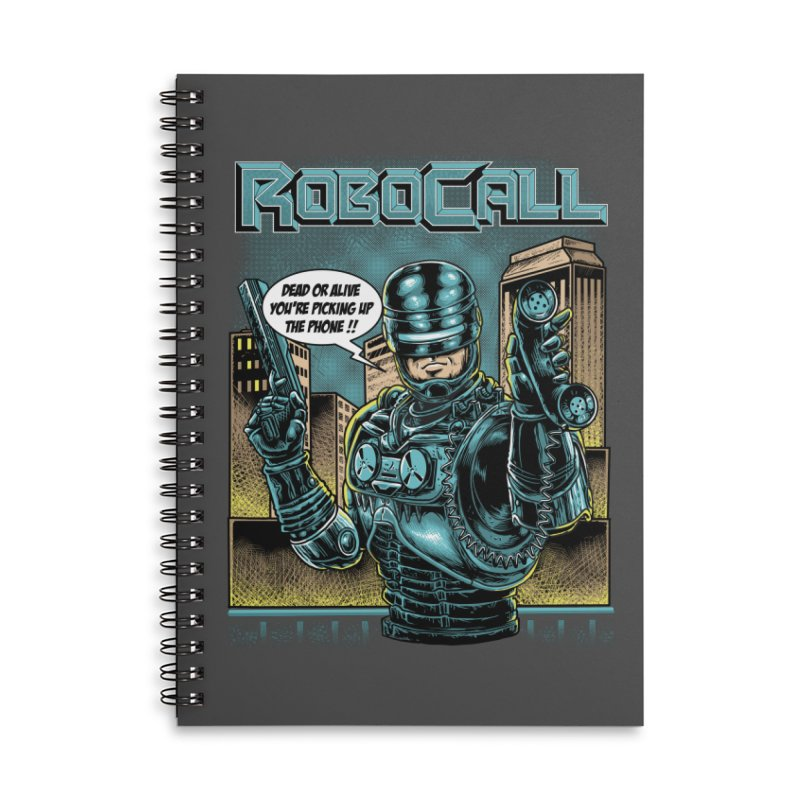 Robocall Accessories Lined Spiral Notebook by Made With Awesome