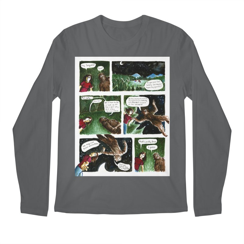 Thoughts With Sasquatch Comic Men's Longsleeve T-Shirt by Madeleine Hettich Design & Illustration