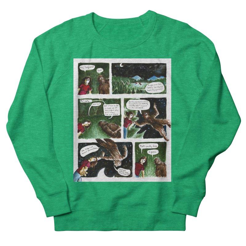 Thoughts With Sasquatch Comic Women's Sweatshirt by Madeleine Hettich Design & Illustration