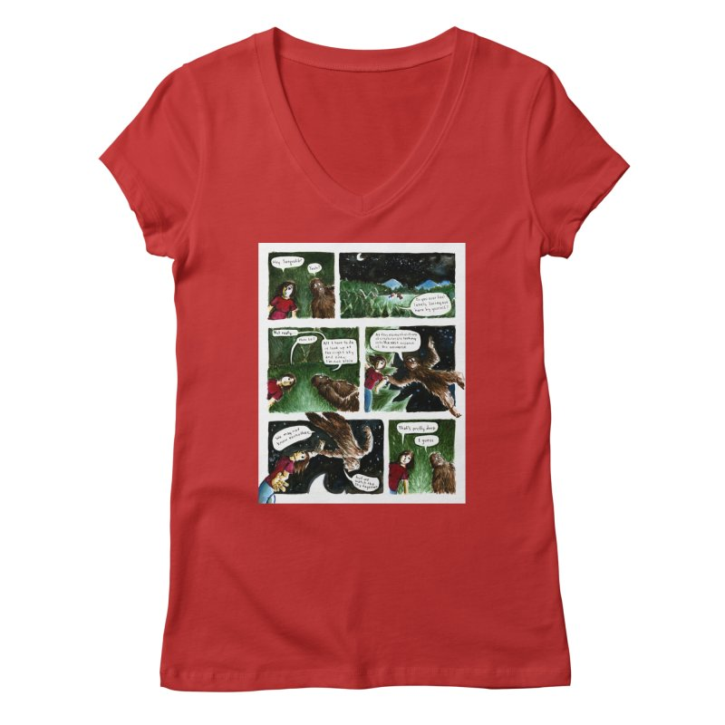 Thoughts With Sasquatch Comic Women's V-Neck by Madeleine Hettich Design & Illustration