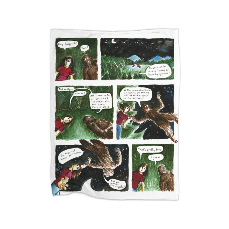 Thoughts With Sasquatch Comic Home Blanket by Madeleine Hettich Design & Illustration