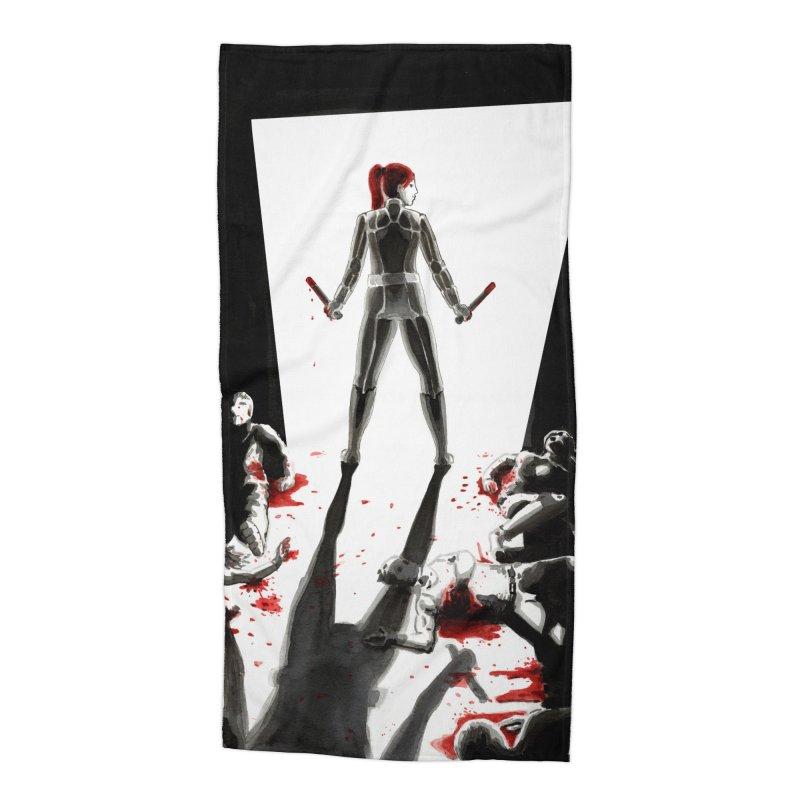 Black Widow Fan Illustration 2 Accessories Beach Towel by Madeleine Hettich Design & Illustration