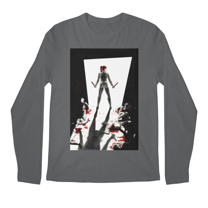 Black Widow Fan Illustration 2 Men's Longsleeve T-Shirt by Madeleine Hettich Design & Illustration