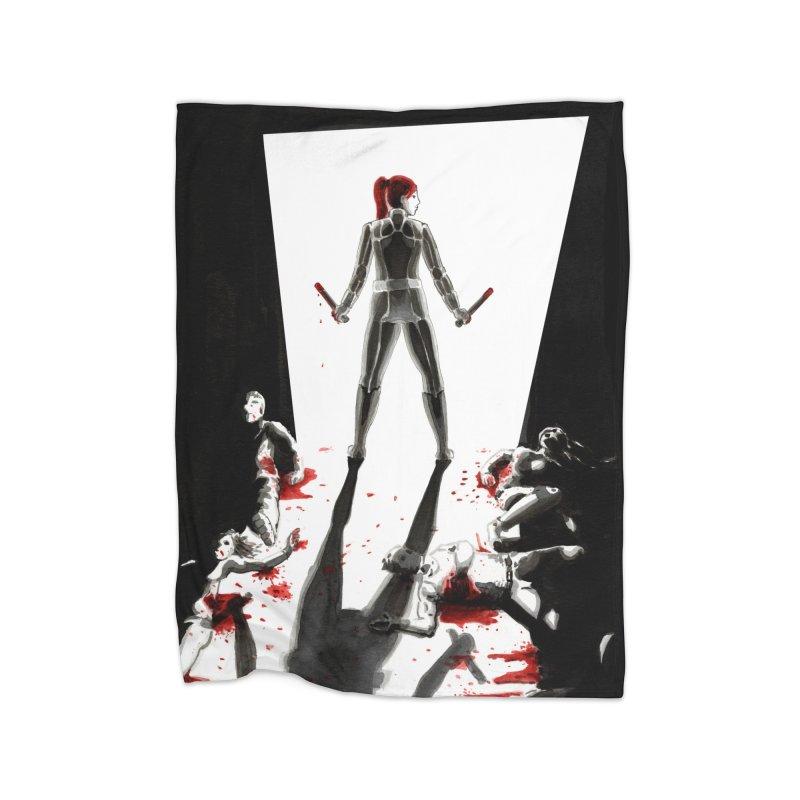 Black Widow Fan Illustration 2 Home Blanket by Madeleine Hettich Design & Illustration
