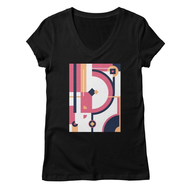 Geometric Design Series 3, Poster 1 Women's V-Neck by Madeleine Hettich Design & Illustration