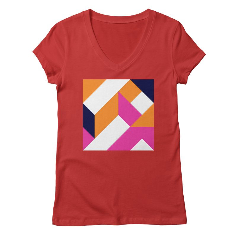 Geometric Design Series 4, Poster 5 (Version 2) Women's Regular V-Neck by Madeleine Hettich Design & Illustration