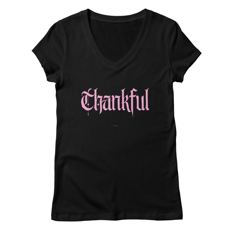 Thankful in pink Women's V-Neck by Magichammer Art By Russ Fagle Shop