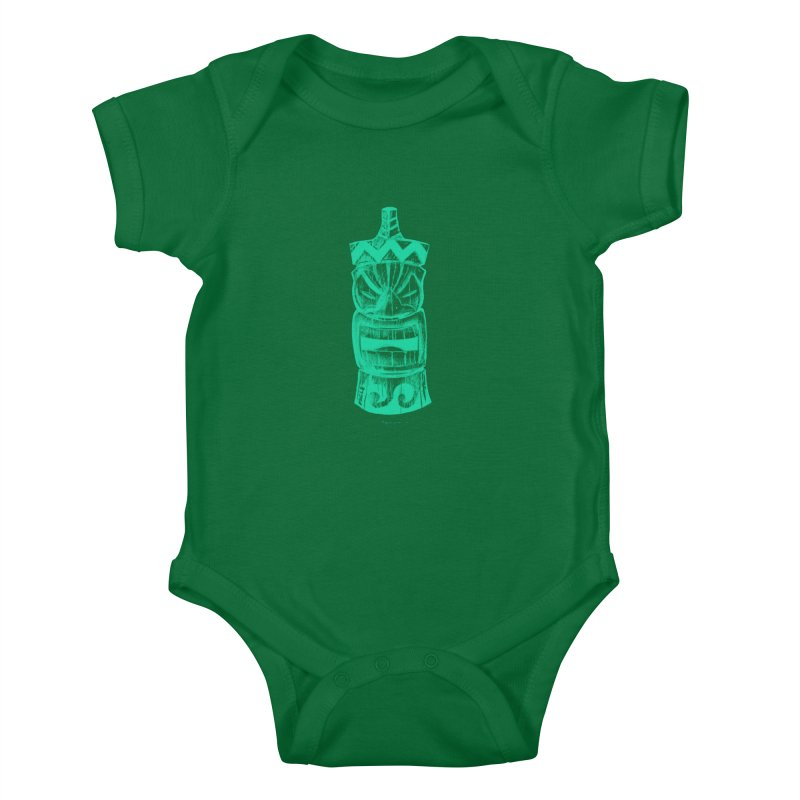 Teal Tiki Kids Baby Bodysuit by Magichammer Art By Russ Fagle Shop