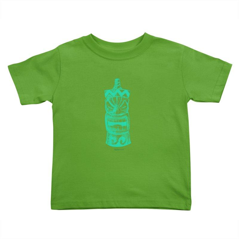 Teal Tiki Kids Toddler T-Shirt by Magichammer Art By Russ Fagle Shop