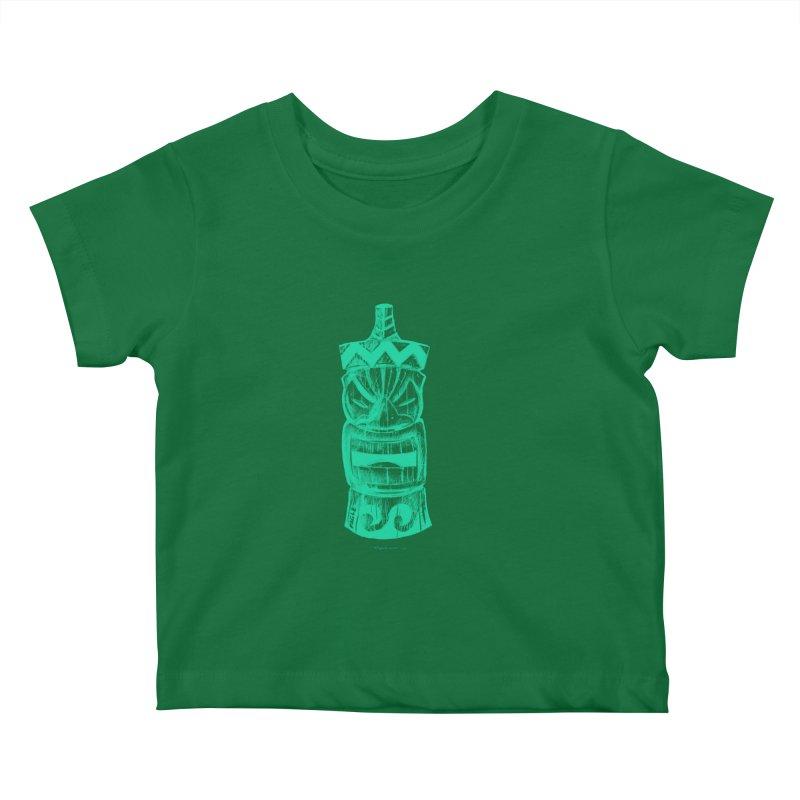 Teal Tiki Kids Baby T-Shirt by Magichammer Art By Russ Fagle Shop